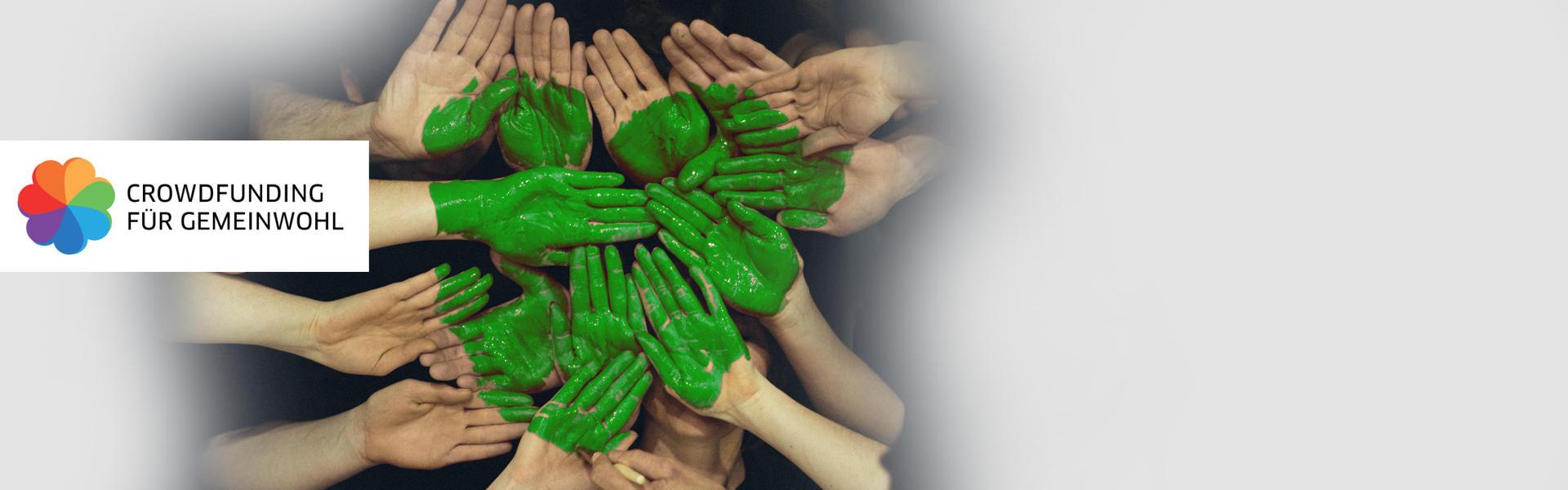 Crowdfunding für Gemeinwohl // Hände mit grünem Herz